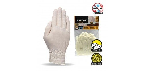 Blister with 10 Disposable Latex Gloves with Sensitive powder PM 526 - PECOL